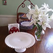 hobnail milk glass cake stand