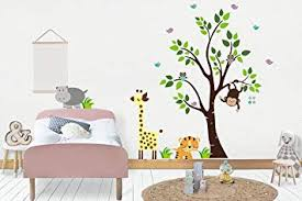 Amazon Com Safari Baby Stickers Jungle Themed Nursery Decor Wall Decals Nursery Kids Playroom Decorations Nature Animal Wall Decals Babies Nursery Room Mural Baby Shower Gift Hippo Owls Baby