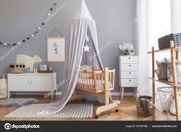 Stylish Scandinavian Newborn Baby Room Interior Mock Poster White Furnitures Stock Photo C Followtheflow 281467056