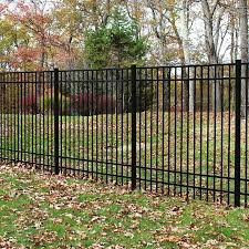 Freedom Actual 5 91 Ft X 6 026 Ft Standard New Haven Black Aluminum Spaced Picket Flat Top Decorative Metal Fence Panel Lowes Com In 2020 Metal Fence Panels Metal Fence Decorative Fence Panels