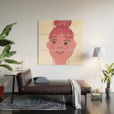 Kiki Cute Girl With Bun And Rosy Cheeks Wood Wall Art By Bettysue Society6