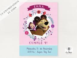 Masha Y El Oso Invitacion Tarjeta Personalizada Masha Y La