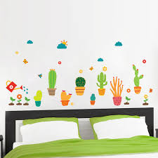 Hot Promo 2c6380 Garden Potted Plants Cactus Wall Stickers Home Decor Living Room Flower Butterfly Bonsai Wall Decals Diy Mural Art Posters Cicig Co