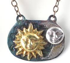 sun moon silver gold necklace
