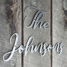 Last Name Cursive Words Wedding Sign Personalized Metal Family Decor Maker Table