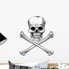 Jolly Roger Skull And Wall Decal Sticker By Wallmonkeys Vinyl Peel And Stick Graphic 18 In H X 16 In W Walmart Com Walmart Com