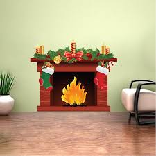 Christmas Fireplace Wall Decal Living Room Decor Apartment Fire Place American Wall Designs