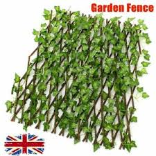 Artificial Faux Ivy Leaf Hedge Panels On Roll Expandable Garden Screen Fence Uk Ebay