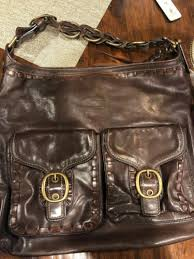walnut brown leather hobo bag f0793