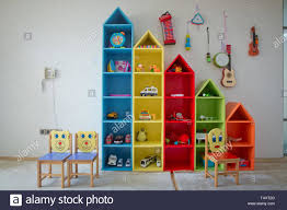 Baby S Room With Shelves With Toys Kids Photosession Background Children S Playroom With Plastic Colorful Educational Blocks Toys Games Floor For P Stock Photo Alamy