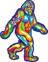 Bold Colorful Bigfoot Stroll Sticke Heart Sticker Company