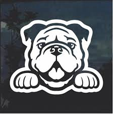 Bulldog Peeking Dog Window Decal Sticker Custom Sticker Shop