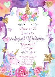 Unicorn Party Invitation Magical Unicorn Celebration Invite