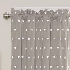 Elephant Kids Cartoon Children Gray Plain White Nursery Room Window Curtains
