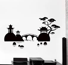 Vinyl Wall Decal Japan Japanese Terrain Bridge And Lake Eastern Big Ho Wallstickers4you