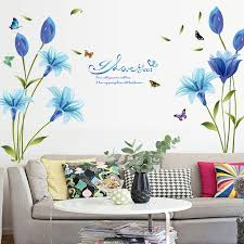 Wall Stick For Living Room Kitchen Non Toxic Lily Flower Butterfly Wall Stickers Wallpaper Wall Decals Wall Decor Wall Stickers Aliexpress