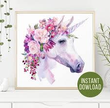 Watercolor Unicorn Clipart The Last Unicorn Wall Decal Unicorn Etsy