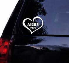 Xsgg Sticker Army Mom Heart Decal Soldier Army Military Love Decal Army Mom Vinyl Car Decal Laptop Decal Car Window Wall Sticker 15x13 Cm White Wish