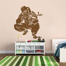 Waliicorners Cs Games Wall Decal Sticker Army Soldier Military Shooter Sniper Weapon Gun Vest Boys For Kids Rooms Quote Art Decor D769 Waliicorner S Store