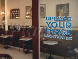 Placeit Mockup Of A Door Window Decal Inside A Coffee Shop