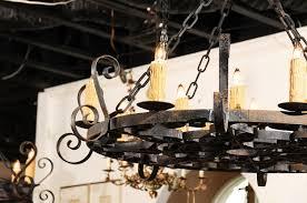 circular 12 light iron chandeliers