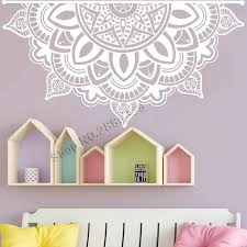 New Half Mandala Wall Decals Art Mandala Decal Headboard Vinyl Sticker Wall Decor Large Flower Mandala Bedroom Wall Decal Lc1195 Wall Stickers Aliexpress