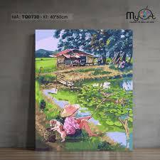 Tranh sơn dầu số hóa tự tô màu - Mã TQ0730 Tranh phong cảnh làng quê nông  thôn chú bé câu cá bên hồ sen Paint by numbers