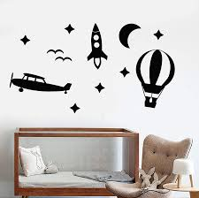 Vinyl Wall Decal Toys Air Balloon Rocket Plane Sky Children S Room Des Wallstickers4you