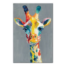 colorful giraffe wrapped canvas