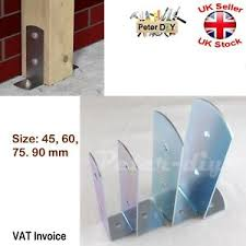Galvanised Bolt Down Base Post Support 90 Angle Bracket Fence Foot Base Bracket Ebay