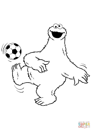 Koekiemonster Speelt Voetbal Kleurplaat Gratis Kleurplaten Printen