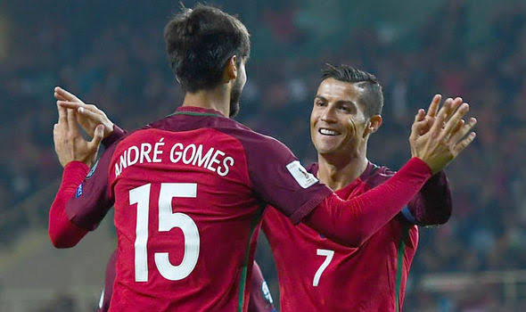 """Image result for CRISTIANO RONALDO AND ANDRE GOMES"""""""
