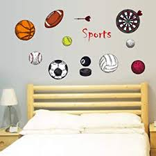 Amazon Com Sports Series Wall Stickers Color Basketball Rugby Volleyball Darts Wall Decals Football Stickers Kids Adult Tennis Wall Removable Stickers For Kids Adult Bedroom Living Room Baby