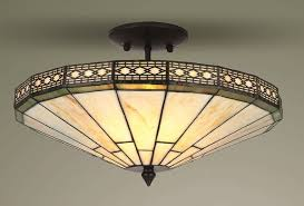 mission tiffany style glass semi flush