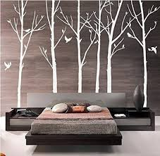 Amazon Com Designyours Set Of 6 Tree Branch Wall Decal Birch Tree Wall Decal With Birds White Tree Wall Decal Nursery Wall Stickers Tree For Living Room Home Kitchen