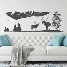 Deers Mountains Wall Decal Nature Wall Decal Pine Tree Wall Decal Landscape Woodland Vinyl Sticker Large Size 3903 Wall Stickers Aliexpress