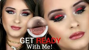 red glitter eye makeup tutorial 2018