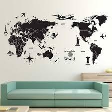 World Map Around The World Vinyl Wall Art Decal