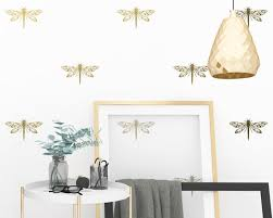 Dragonfly Wall Decals Modern Wall Stickers Gold Wall Etsy