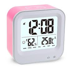 Alarm Clock Usb Charging Lcd Clock With Humidity Temperature Sensor Backlight Snooze Function Intelligent Touch Control For Kids Bedroom Travel Use Rose Kitchen Dining B0721xwhbl