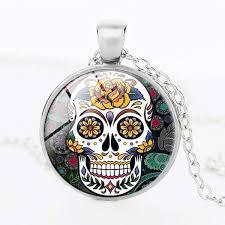 handmade mexican sugar skull pendant