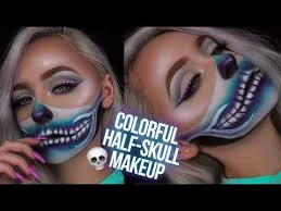 colorful half skull makeup tutorial