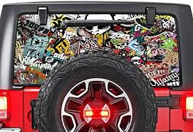 Amazon Com Gold Fish Decals Rear Window Perforated See Thru Graphic Decal Sticker Bomb Skin Compatible With Jeep Wrangler Jk Rubicon Automotive