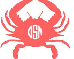 Monogram Crab Vinyl Decal Glitter Crab Monogram Car Monogram Vinyl Letters Monogram Outdoor Vinyl Car Crab M Vinyl Decals Monogram Vinyl Decal Car Monogram