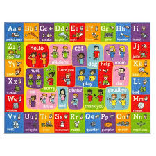 Kc Cubs Multi Color Kids Children Bedroom Abc Alphabet Asl Sign Language Educational Learning 5 Ft X 7 Ft Area Rug Kcp010031 5x7 The Home Depot