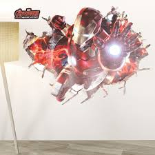 The Avengers Ironmanthrough Wall Stickers Decals For Kids Rooms Nursery Home Decor 3d Effect Kids Boys Bedroom Poster Leather Bag