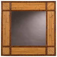 square rattan bamboo framed mirror