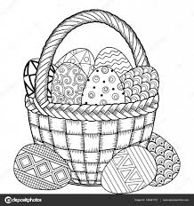 Vrolijk Pasen Zwart En Wit Doodle Easter Eggs In De Mand