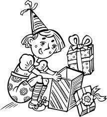 Meisje Opent Een Cadeautje Op Haar Verjaardag Kleurplaat Gratis