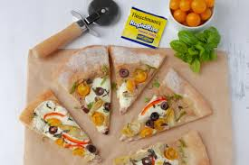 terranean pizza with homemade dough